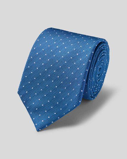 Schmutzabweisende Krawatte aus Seide mit Strukturgewebe und Punkten - Königsblau & Weiß