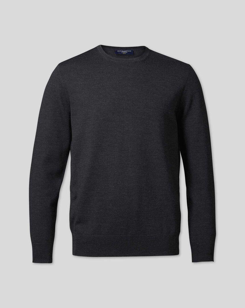 Merino Crew Neck Sweater - Dark Charcoal
