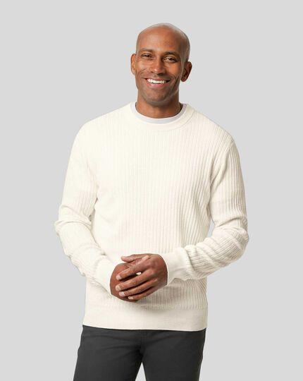 Wool Cotton Rib Sweater - White