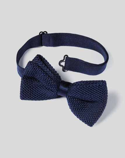Silk Knitted Bow Tie - Navy