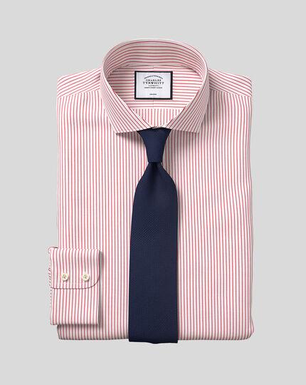 Cutaway Collar Non-Iron Dobby Stripe Shirt - Red