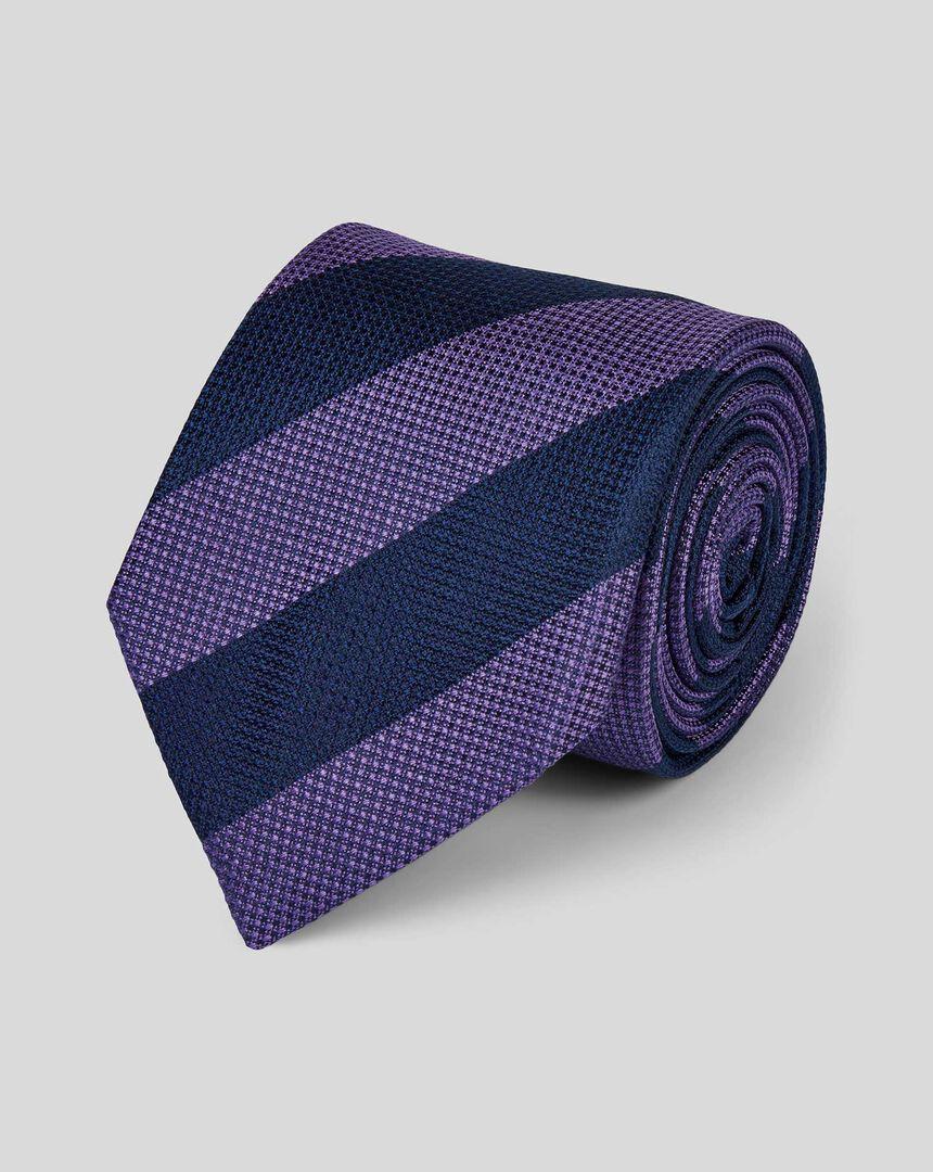 Silk Block Stripe Tie - Lilac & Navy