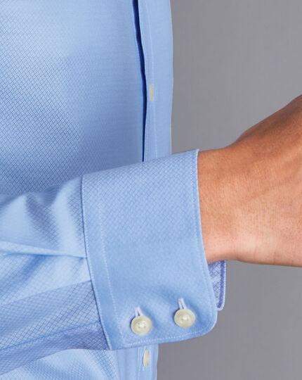 Semi-Spread Egyptian Cotton Deco Weave Shirt - Sky Blue