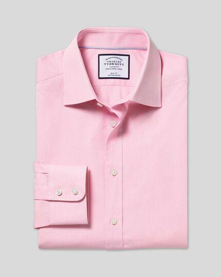 Semi-Cutaway Collar Egyptian Cotton Poplin Shirt - Pink