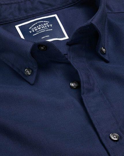 Bügelfreies Twill-Hemd mit Button-down-Kragen - Dunkelblau