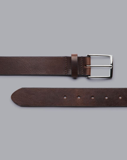 Made in England Leather Chino Belt - Chocolate Brown
