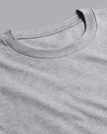 Cotton Long Sleeve Tyrwhitt T-Shirt - Grey Marl