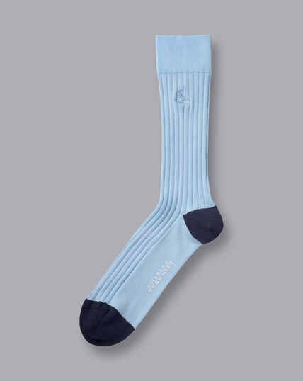 Rippstrick-Socken aus Baumwolle - Hellblau