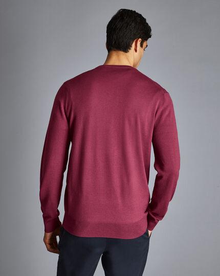 Merino Crew Neck Sweater - Dark Pink