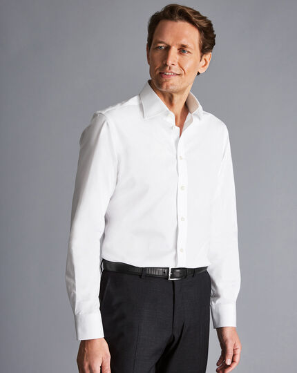 Semi-Spread Collar Egyptian Cotton Poplin Shirt - White
