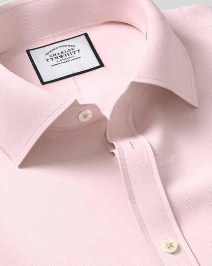 Classic Collar Egyptian Cotton Lattice Weave Shirt - Pink
