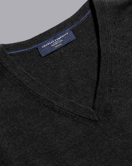Merino V-Neck Sweater - Dark Charcoal