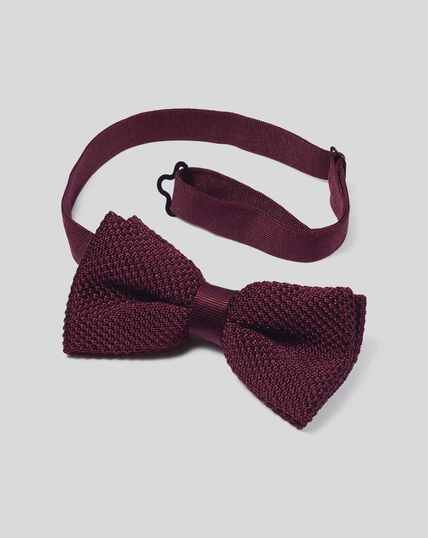 Silk Knitted Bow Tie - Burgundy
