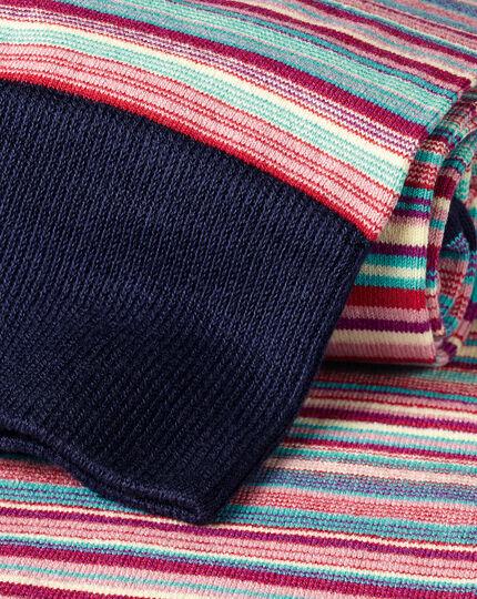 Jacquard Stripe Socks - Pink