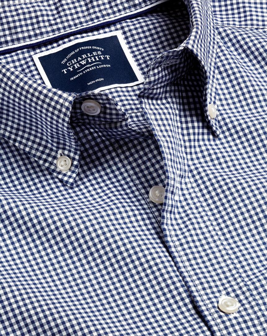 Bügelfreies Popeline-Hemd aus Stretchgewebe mit Button-down-Kragen und Mini-Gingham-Karos - Marineblau