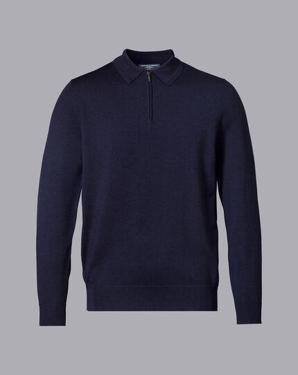 Merino Zip Neck Polo Shirt - Navy