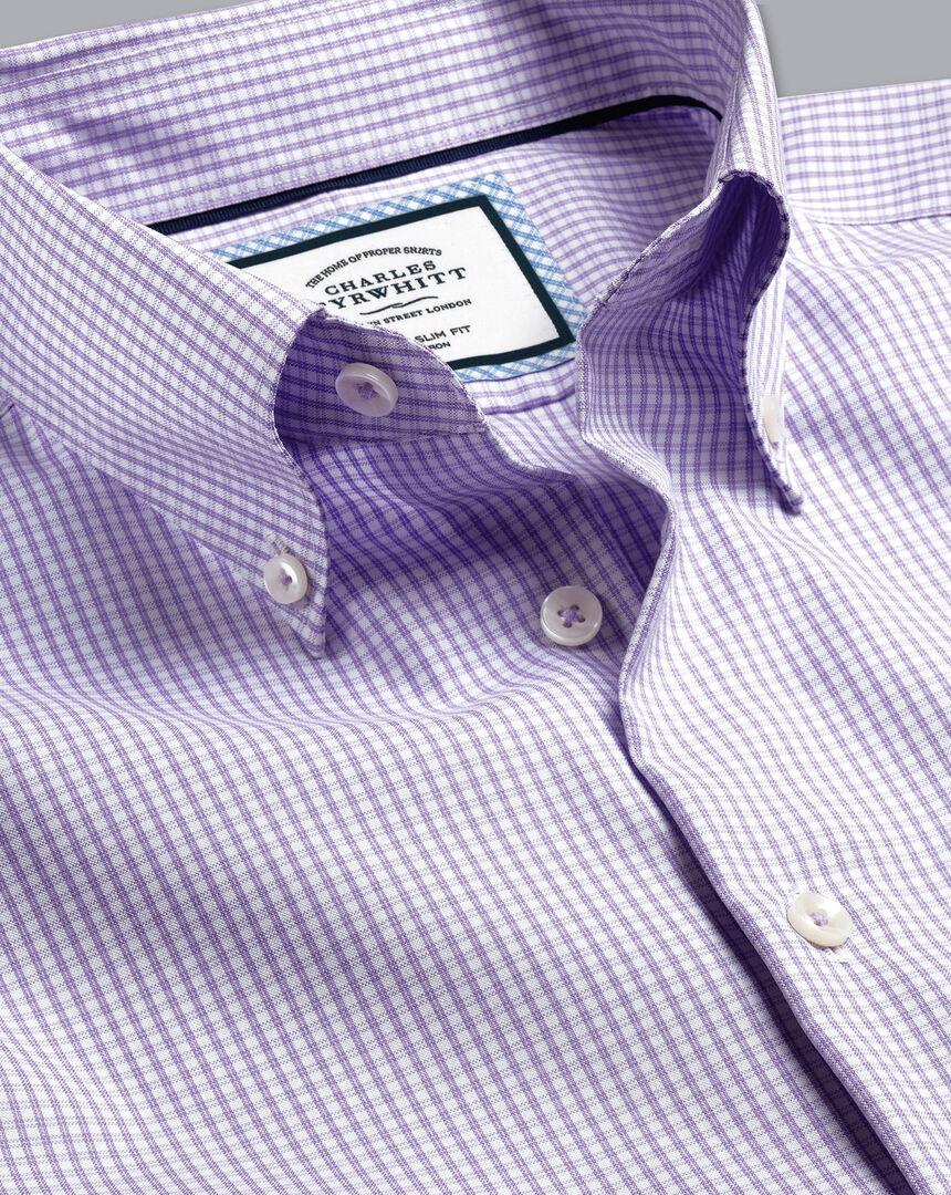 Button-Down Collar Non-Iron Check Shirt - Lilac Purple