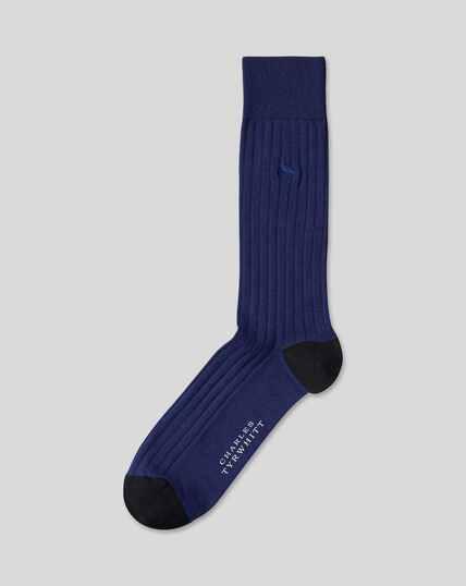 Cotton Rib Socks - Navy