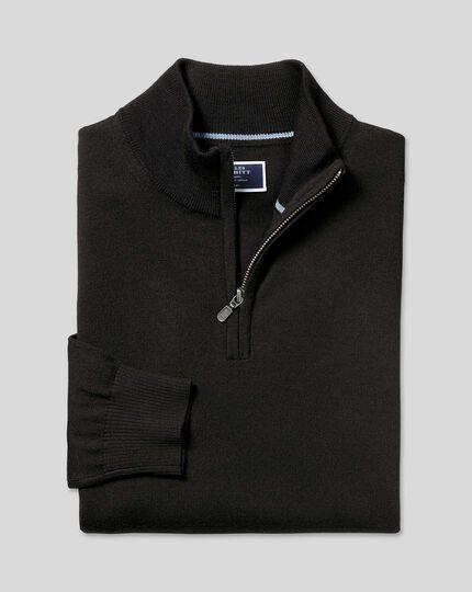 Merino Zip Neck Sweater - Black