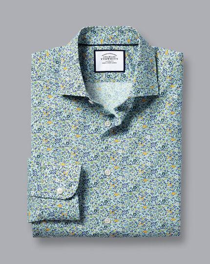 Made with Liberty Fabric Semi-Spread Collar Shirt - Sky