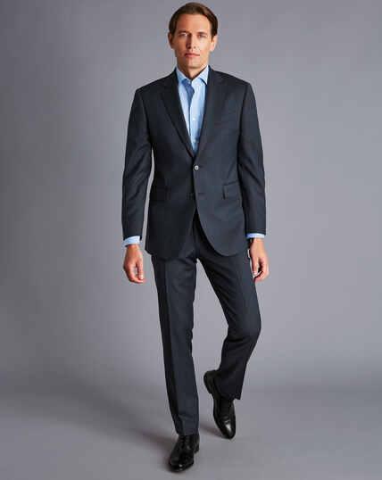 Herringbone Business Suit Jacket - Dark Airforce Blue