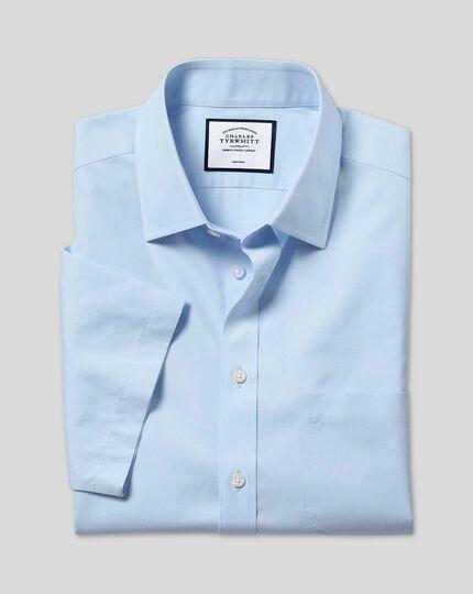 Non-Iron Tyrwhitt Cool Poplin Short Sleeve Shirt - Sky