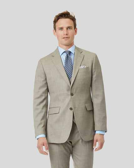 Textured Suit Jacket - Stone
