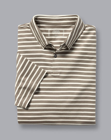 Smartes Jersey-Polo mit Streifen - Mokka & Weiß