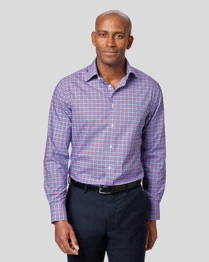 Non-Iron Prince of Wales Check Shirt - Purple & Blue