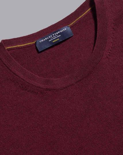 Merino Crew Neck Sweater - Burgundy