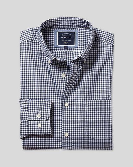 Button-Down Collar Non-Iron Stretch Poplin Gingham Shirt - Navy