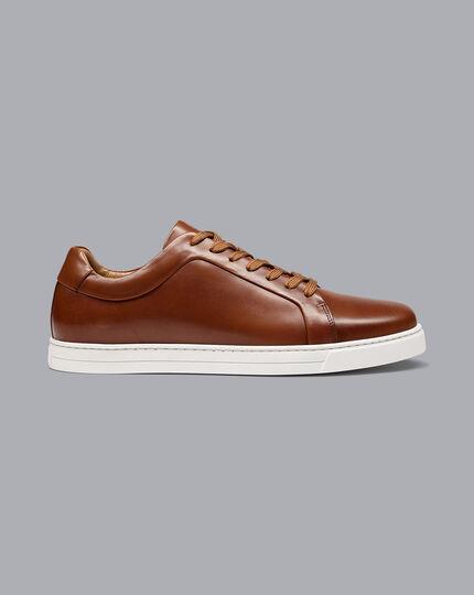 Leather Sneakers - Tan