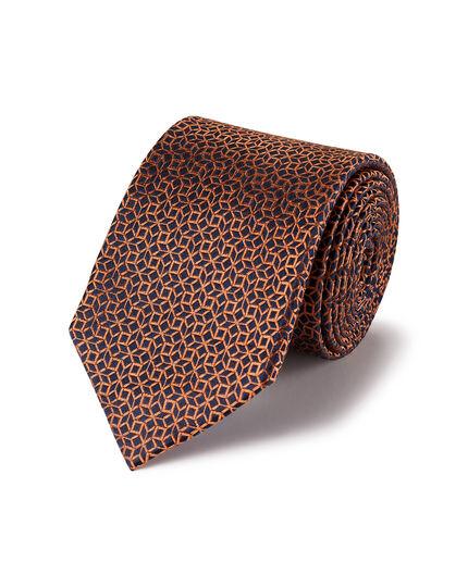 Geometric Cube Tie - Navy & Orange