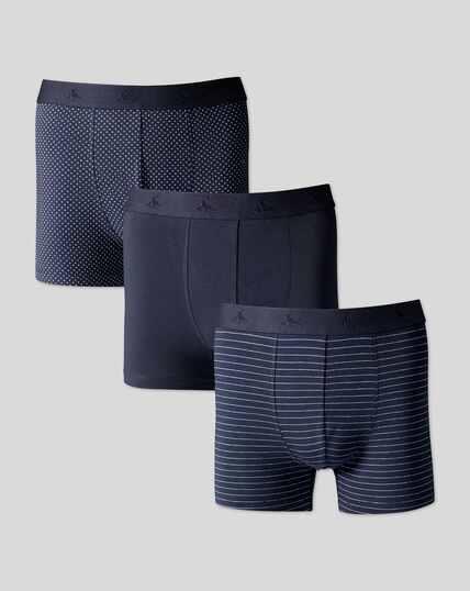 3er-Pack Stretch-Unterhosen aus Jersey und  Multimuster -  Französisches Blau