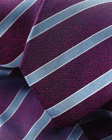 Silk Stripe Tie - Berry & Sky