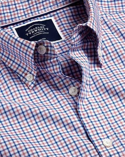 Button-Down Collar Non-Iron Stretch Poplin Check Shirt - Pink and Blue