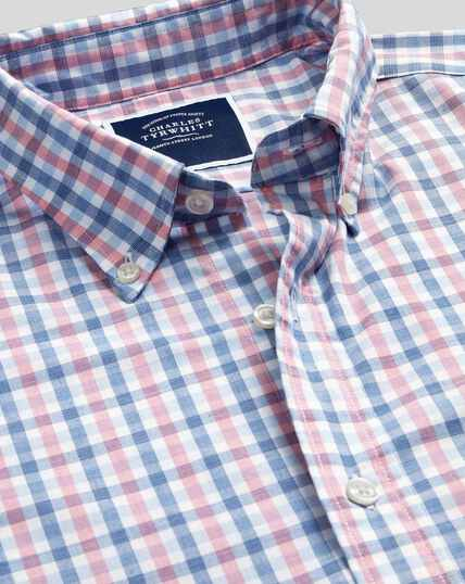 Button-Down Collar Soft Washed Stretch Poplin Check Shirt - Coral & Blue
