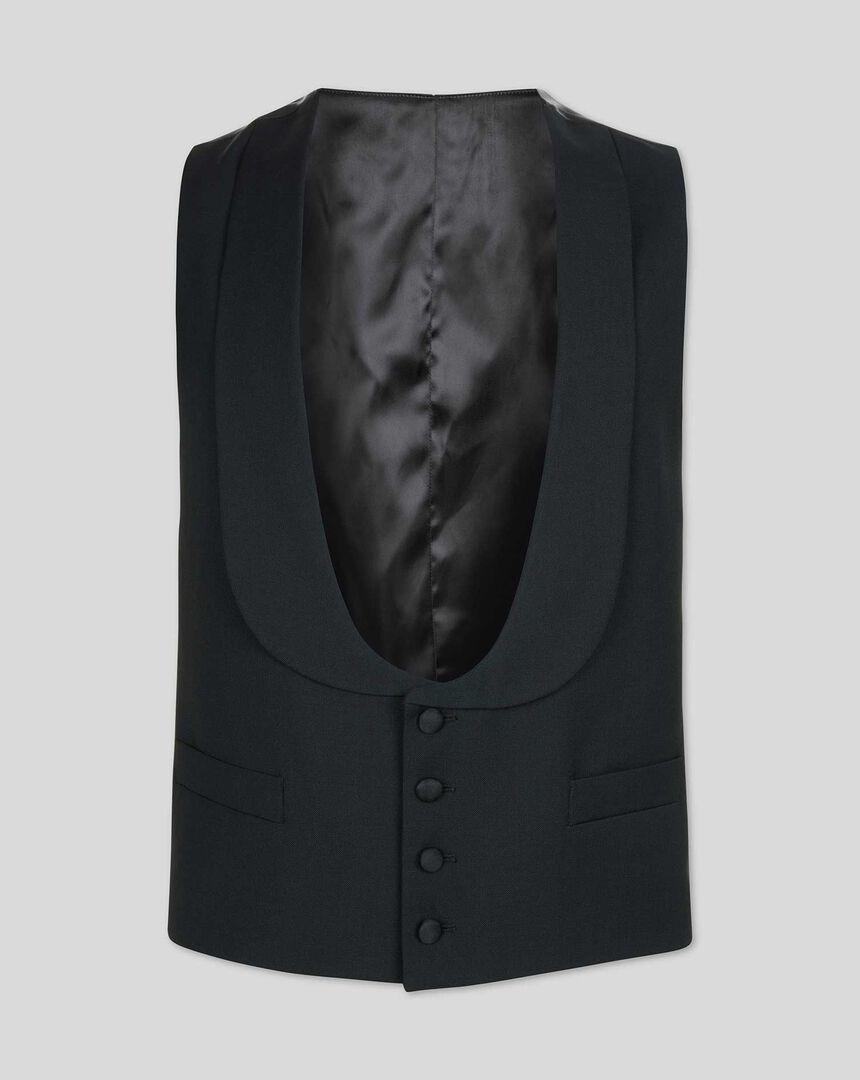 Shawl Collar Dinner Suit Waistcoat - Black