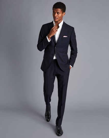 British Luxury Herringbone Suit Jacket - Navy