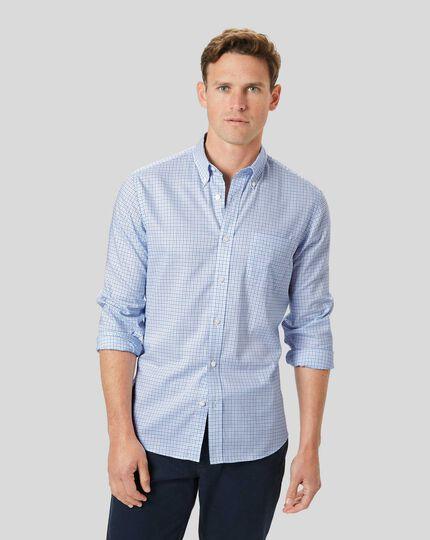 Button-Down Collar Non-Iron Stretch Oxford Check Shirt - Blue & Sky