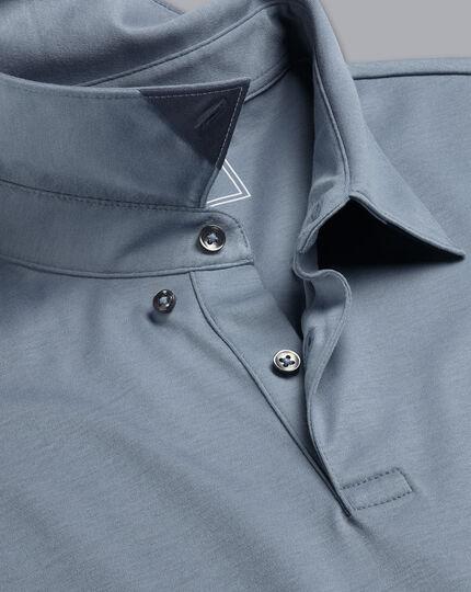 Smartes Langarm-Polo aus Jersey - Stahlblau