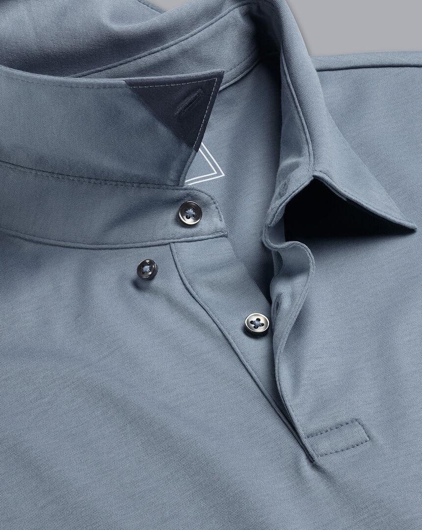 Smart Long Sleeve Jersey Polo - Steel Blue