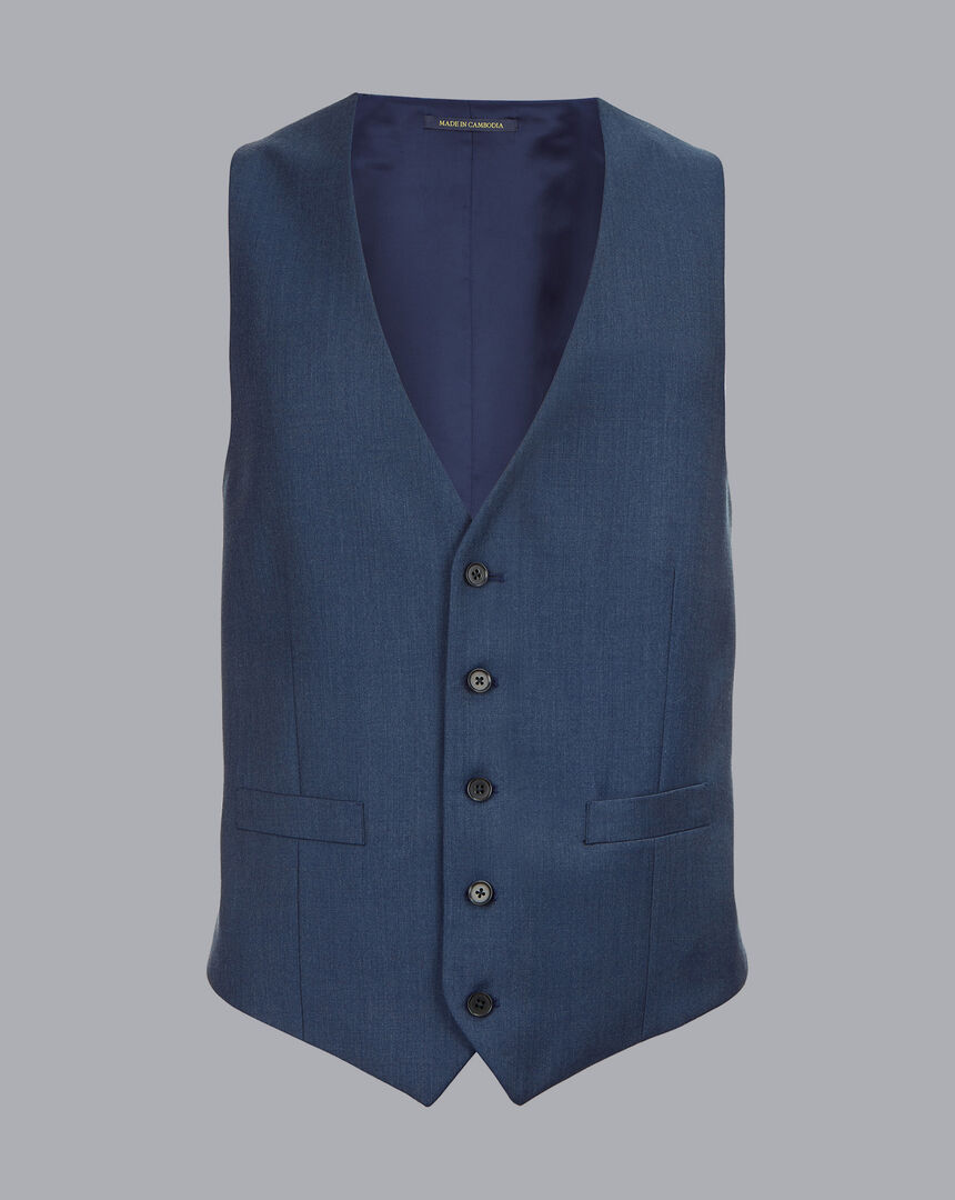 Twill Business Suit Waistcoat - French Blue