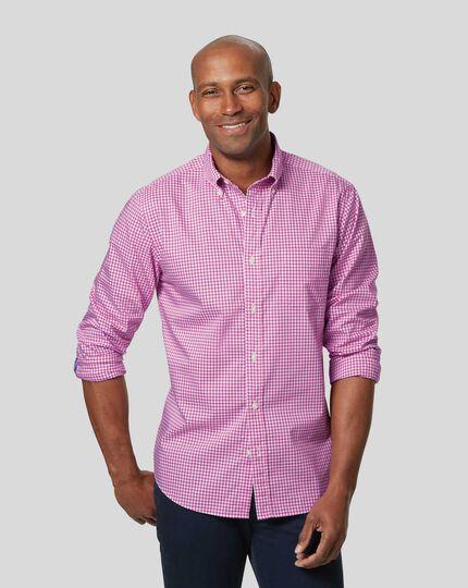 Bügelfreies Popeline-Hemd aus Stretchgewebe mit Button-down-Kragen und Gingham-Karos - Beerenrot