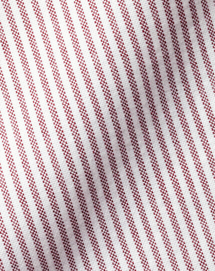 Button-Down Collar Washed Oxford Stripe Shirt - Red & White