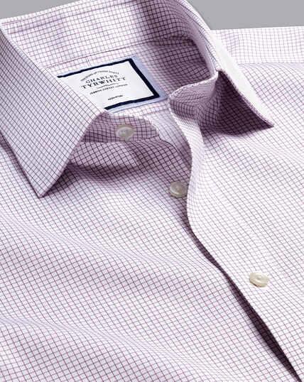 Non-Iron Twill Mini Grid Check Shirt - Purple