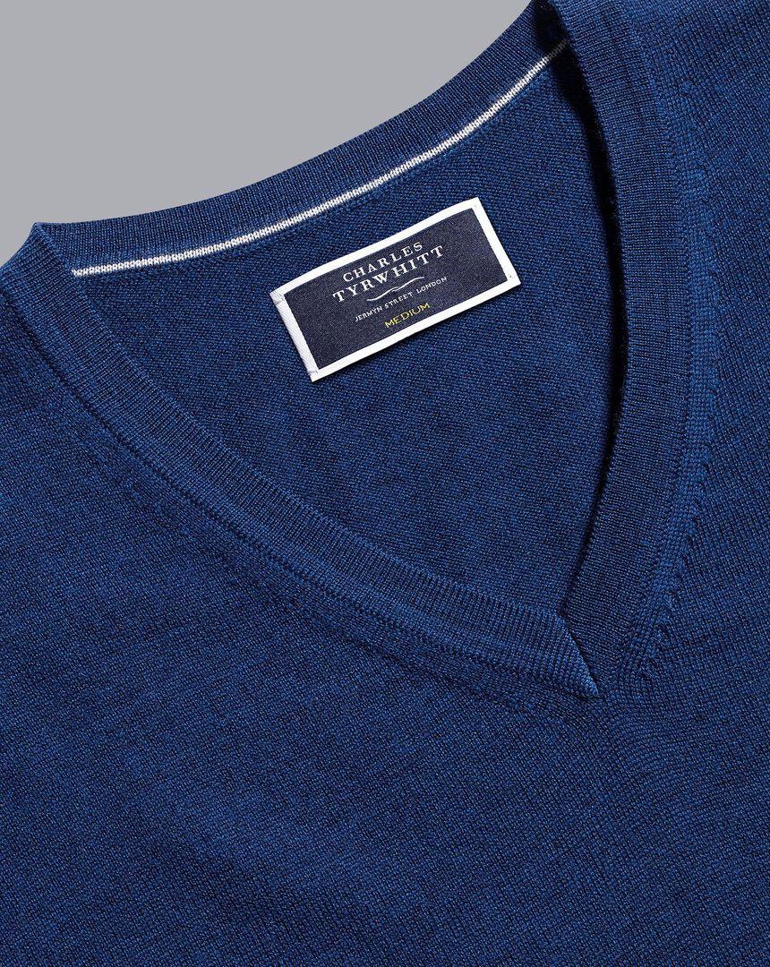 Merino V-Neck Sweater - Royal Blue