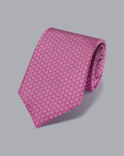 Horseshoe Silk Print Tie - Bright Pink