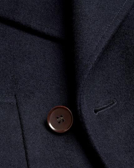 Italian Wool Cashmere Pea Coat - Navy