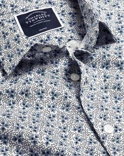 Stretch Poplin Leaf Print Shirt - Blue